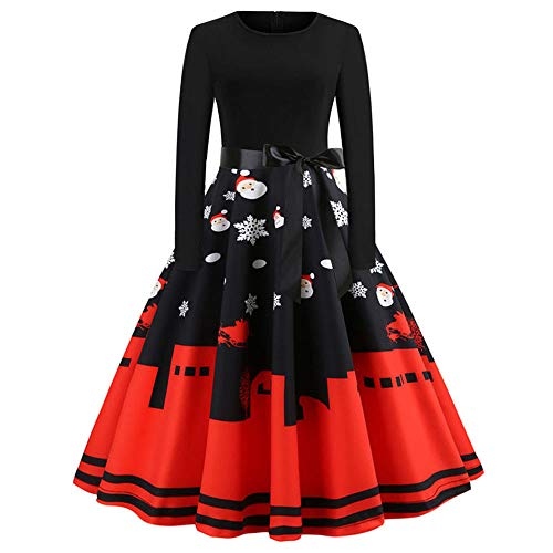TOTOD Vintage Dress, Women Elegant Long Sleeve Print Dresses - O Neck Evening Party Swing - Pleated Dress Wang Vera