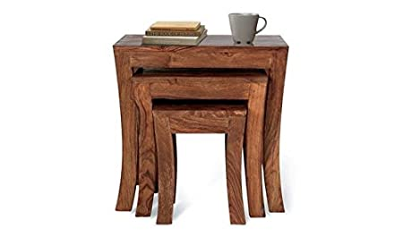 Ringabell Solid Wood Nesting Tables (Teak Finish, Brown)