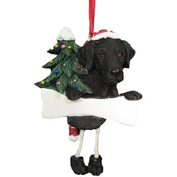Amazoncom Personalized Black Lab Dog and Bone Christmas Ornament