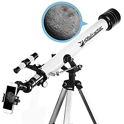 Telescope for Beginners and Kids-60mm Apeture 700mm Focus Length Telescope - Refractor & Travel Scope to Observe Moon and Planet with Tripod and 10mm Eyepiece Smartphone Mount: Camera & Photo