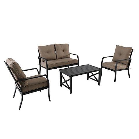 4-Piece Aluminum X-Back Seating Conversation Set (Vintage Cast Iron Outdoor Furniture)