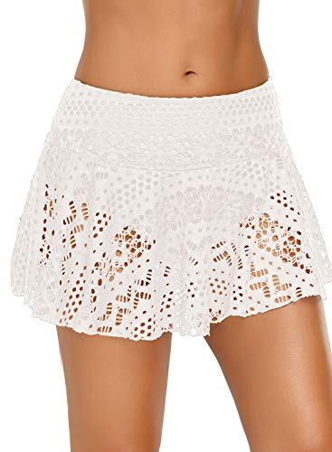 Aleumdr Womens Skirted Bikini Bottom High Waisted Swim Bottom Ruffle Swim Bathing Suit Skirt White X-Large 14 16