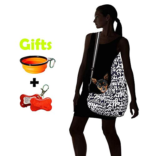 (CSBag Dog Pet Sling Carrier Wearable Harness Tote Bag Small & Medium Dogs Chihuahua, Maltese, Yorkie & Puppies Doggie Sling with Front Pocket for Your Phone & Accessories 18 lb Capacity)