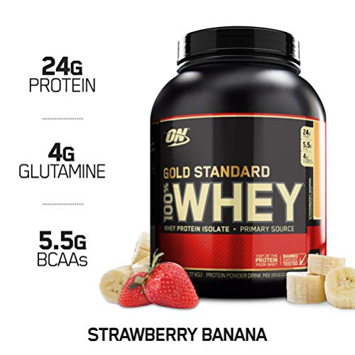 (OPTIMUM NUTRITION GOLD STANDARD 100% Whey Protein Powder, Strawberry Banana, 5 Pound)