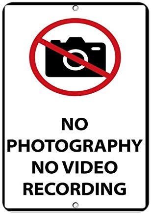 (Ralally Home Decor Sign No Photography No Video Recording Security Sign Metal Sign for Outdoor Indoor Use Easy to Mount)