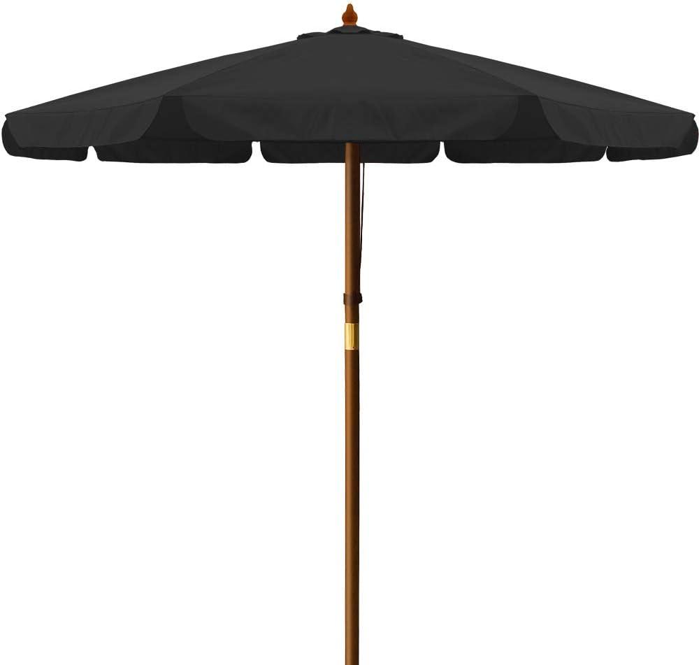 Deuba Sombrilla Negro con Palo de Madera en 2 Partes Ø 330cm Impermeable protección UV Exterior jardín Playa pícnic