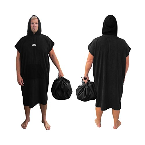 (BPS Surf Microfiber Poncho with Hood - Surfing Beach Changing Towel/Bath Robe - One Size Fits All - Poncho with Front Pocket (Black))