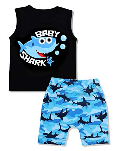 - Baby Boy Clothes Baby Shark Doo Doo Doo Print Summer Cotton Sleeveless Outfits Set Tops + Short Pants 0-6 Months