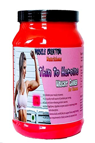 Muscle Creator nutrition's (thin to heroine) weight gainer for girls/women strawberry 1 kg [2.2lbs] 1000gms+250gms[Extra]=1250gms