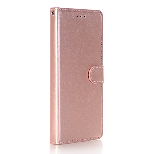 Galaxy S8 Active Case, GPROVA [Wrist Strap] [Kickstand Feature] Luxury Card Slots Shockproof Kickstand PU Leather Wallet Flip Protective Case Cover for Samsung Galaxy S8 Active (Rose Gold)
