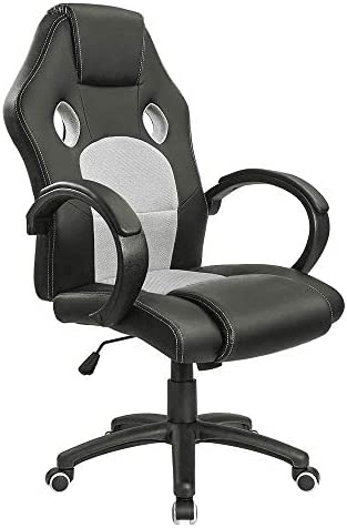 Homall Office Chair Ergonomic Racing Style Gaming Chair High Back Executive Computer Chair Swivel Task Chair Leather Cobra Mesh Desk Chair Padded Armrests Bucket Seat and Lumbar Support White