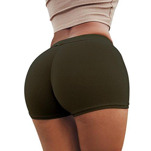 Gillberry Pants Women Leggings, Sports Shorts Gym Workout Skinny Yoga Shorts Pants For Women (Army Green, M) (Army Hangers)