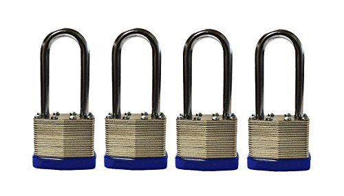 4-Pack Long Shackle Keyed Alike 400 Long Shank (Includes 8-Keys All Keyed Alike) (Shackle Padlock Keyed)