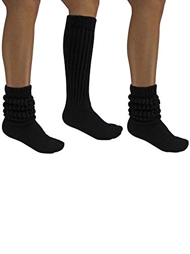 (All Cotton Black 3 Pack Extra Heavy Super Slouch Socks)