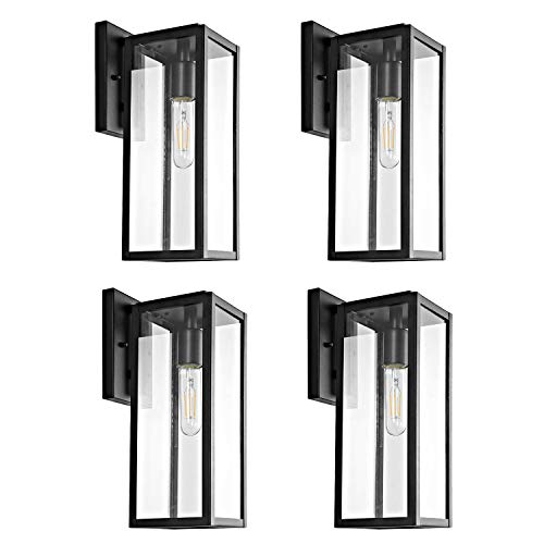 Bestshared Outdoor Wall Lantern, 4 Pack Exterior Wall Sconce Light Fixtures,Wall Mounted Single Light, Black Wall Lamp with Clear Glass