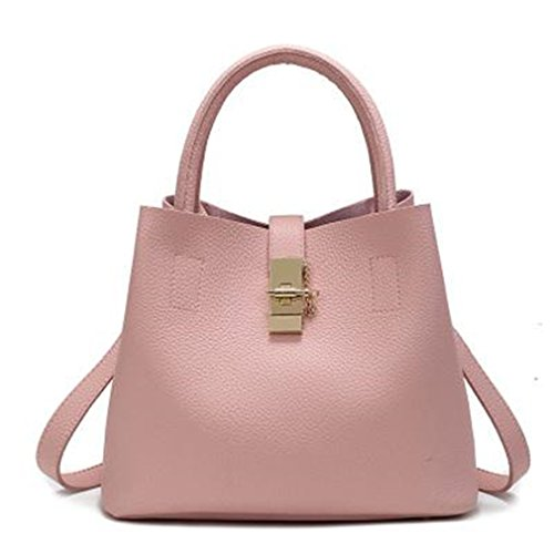 Firstider Women's Handbags Candy Shoulder Totes Simple Trapeze Messenger Bag pink send free gift