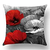 WePurchase Hand Painted Ink Painting Watercolor Red Gray Black White Retro Poppy Flowers Decoration Cotton Linen Decorative Home Sofa Living Room Throw Pillow Case Cushion Cover Square 18x18 Inches