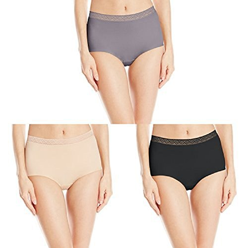 VASSARETTE Vanity Fair Women's Invisibly Smooth Brief Panty 13383 Steele/Vass Latte/Black Sable (Womens Smooth Panty)