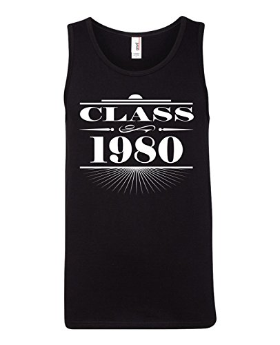 Tenacitee Men's Art Deco Class of 1980 Tank Top, Medium, Black ()