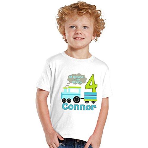 NanyCrafts Children's All Aboard Train Birthday Boy Personalized Kids Shirts 4Y White ()