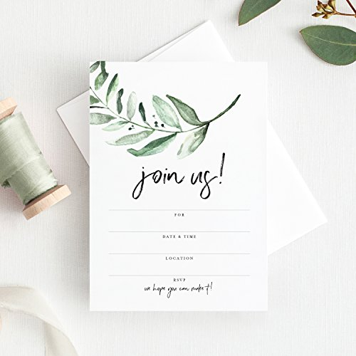 25 Invitations with Envelopes for All Occasions, Greenery Invites Perfect for: Weddings, Bridal Showers, Engagement, Birthday Party or Special Event — Fill in Rustic invites from Bliss Paper Boutique by Bliss Paper Boutique