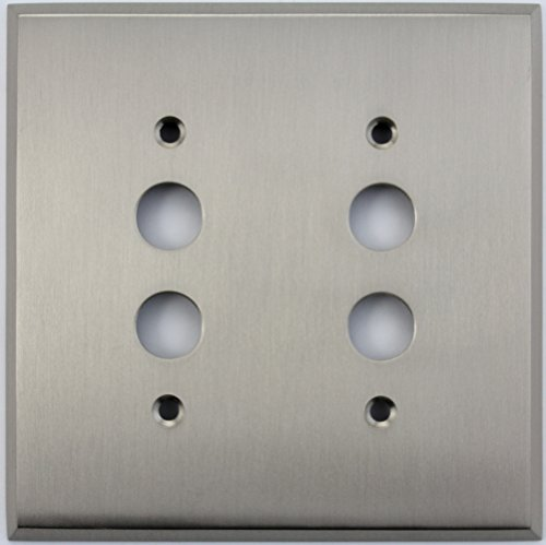 (Classic Accents Satin Nickel 2 Gang Push Button Switch Wall Plate)