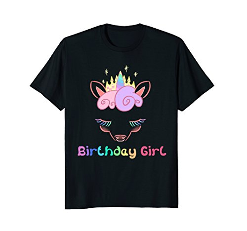 Unicorn Pony Birthday Girl Rainbow Words Cute T-Shirt