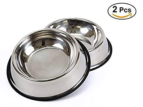 BPS 2X Comedero Bebedero 22cm Acero Inoxidable para Perro Gato Mascotas Diámetro 3 Tamaños para Elegir (22 cm) BPS-5504 * 2