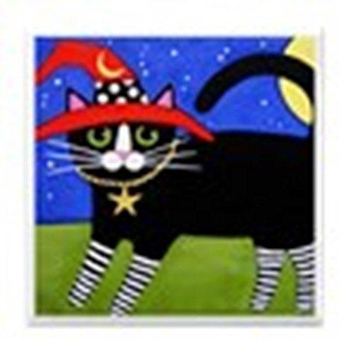 - CafePress - Black Tuxedo Witch CAT w/RED Hat ART Tile Coaster - Tile Coaster, Drink Coaster, Small Trivet