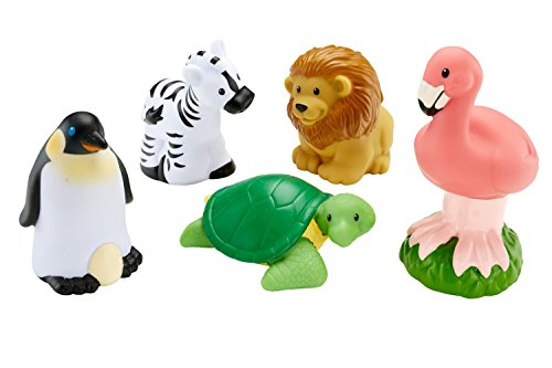 Fisher Price Little People - Wild Animals 5 Pack - Turtle, Lion, Zebra, Penguin,and Flamingo (Fisher Price Little People Circus)