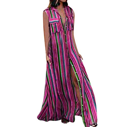 - MILIMIEYIK Blouse Womens Bohemian Sleeveless Color Block Printed Casual Maxi Dresses Summer Beach Long Dress Hot Pink