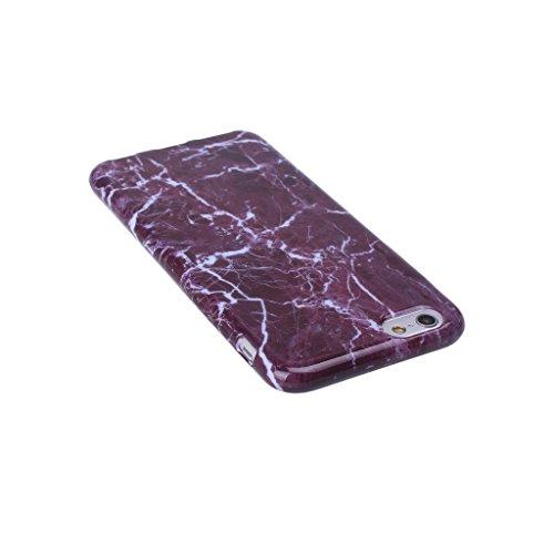 """ZXLZKQ pour iPhone 6 6S 4.7"""" Etui Ultra Mince Pourpre Blanc Naturel Marbre Motif Souple TPU Silicone Case Housse Coque pour Apple iPhone 6 6S 4.7"""" (non applicable iPhone 6 Plus)"""