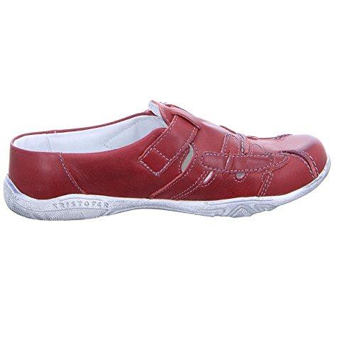 Kristofer Damen Pantolette AX2026 Sabot Slipper Leder Klettverschluss Rot