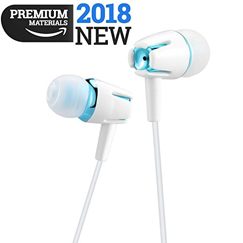 Earphones In Ear Headphones Earbuds with Microphone Mic Stereo and Volume Control Waterproof Wired Earphone For iPhone Samsung Android Mp3 Players Tablet Laptop 3.5mm Audio Blue