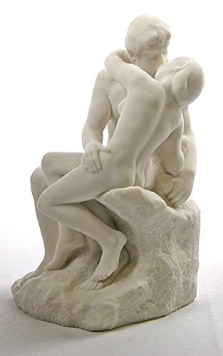 (The Kiss statue by Auguste Rodin White 5.5 Tall)