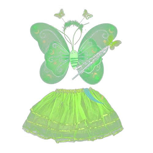 BOBORA Toddler Girls Fairy Butterfly Wing Wand Headband Tutu Skirt Halloween Party Costume Set ()