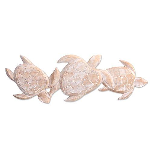 NOVICA 'Sea Turtle Trio' Wood Relief Panel