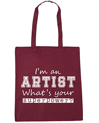 Gym Burgundy What's Your an Artist x38cm Bag 42cm litres I'm HippoWarehouse 10 Shopping Superpower Tote Beach SqwZ8Tftx1