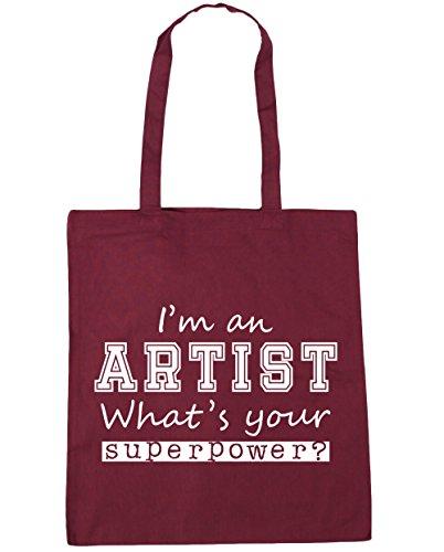 HippoWarehouse I'm an Artist What's Your Superpower? Tote Shopping Gym Beach Bag 42cm x38cm, 10 litres Burgundy