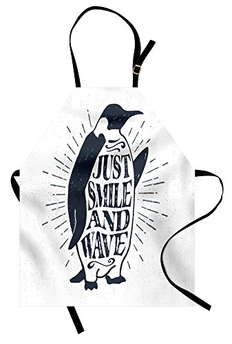 Ambesonne Inspirational Apron, Vintage Artwork with Emperor Penguin and Just Smile and Wave Quote Print, Unisex Kitchen Bib Apron with Adjustable Neck for Cooking Baking Gardening, Black White - Unisex Kitchen