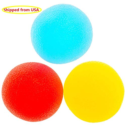 - 3 Resistance Levels Physical Therapy Hand Ball Stress Relief Ball Multiple Resistance Therapy Exercise Gel Squeeze Balls Kits for Hand Finger Wrist Muscles Arthritis Grip Exerciser Strengthening 3pcs
