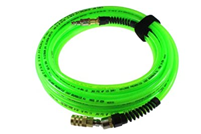 Coilhose Pneumatics PFX6100GS15XS Flexeel Max Reinforced Polyurethane Air Hose, 3/8-Inch ID, 100-Foot Length with 1/4-Inch Ball Swivel Coupler and 1/4-Inch Air Safety Plug, Industrial Interchange