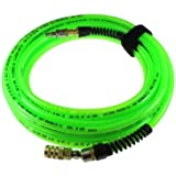 Coilhose Pneumatics PFX4050GS15XS Flexeel Max Reinforced Polyurethane Air Hose, 1/4-Inch ID, 50-Foot Length with 1/4-Inch Ball Swivel Coupler and 1/4-Inch Air Safety Plug, Industrial Interchange
