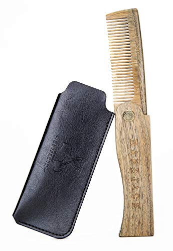 Sandalwood Folding Beard Comb w/Leather Case for Men-Great for Grooming and Combing Beards, Hair and Mustache-Top Wooden Pocket Combs