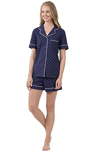 PajamaGram Pajamas for Women Dot - Pajama Sets for Women Cotton, Navy, 3X, 24-26