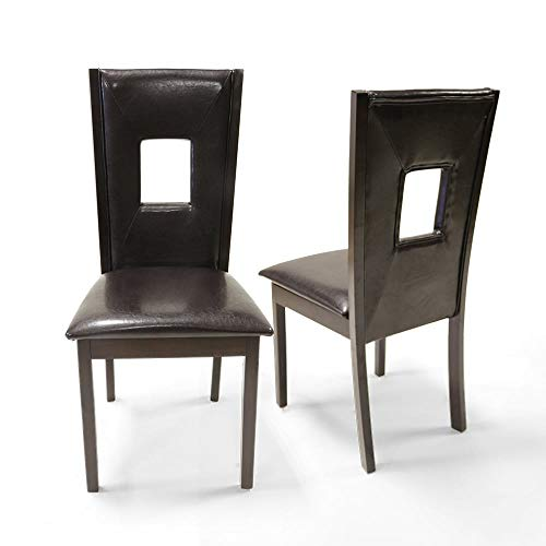 Warehouse of Tiffany Cindy Set of 2 Dark Brown Pu Leather Dining Chair 3116C
