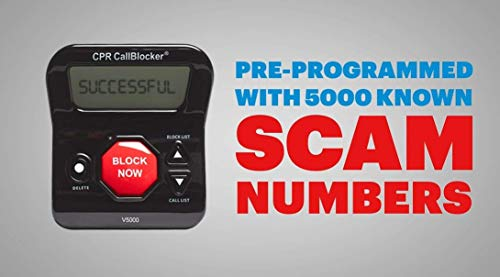 CPR V5000 Call Blocker for Landline Phones - Pre-loaded with 5000 known Robocall Scam numbers - Block a further 1500 numbers at a Touch of a Button - As seen on TV