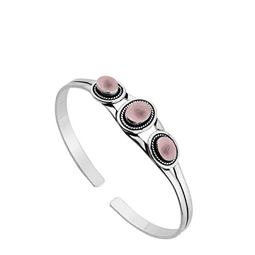 (Sterling Silver Jewelry 5.45ct, Genuine Rose Quartz & 925 Silver Plated Bangle)