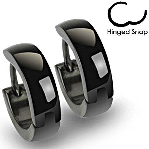 Pair Stainless Steel Black Ip Titanium Hoop Huggie Earrings