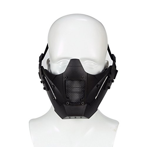 Simways Half Face Lower Mask Mesh Tactical Metal Steel Mask, Can Work with Fast Helmet, Used for Airsoft Paintball Hunting Shooting (Black)